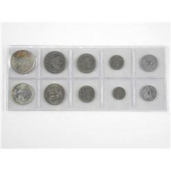Lot (10) Greek Coins W/Silver.