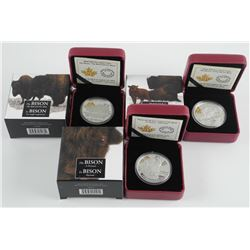 Lot (3) .9999 Fine Silver $20.00 Coins The Bison -