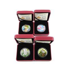 Lot (4) .9999 Fine Silver $10.00 Coins 'Birds Amon