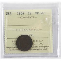 1864 USA One Cent. VF-20. ICCS. (CR)