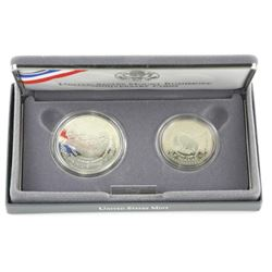 USA 1991 Two-Coin Proof Set with Silver. Mount Rus