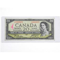 Bank of Canada 1954 - Twenty Dollar Note. B/C. BC-