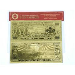 Lot (2) 24kt Gold Leaf Collector Notes - 1 Million