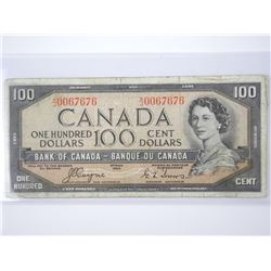 Bank of Canada 1954 - One Hundred Dollar Note. C/T