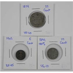 Lot (3) CAN Silver Coins: 1874, 1894, 1902 (SIR)