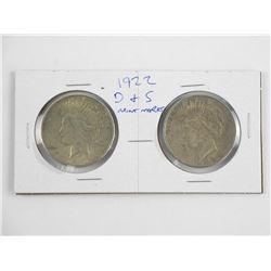 "Lot (2) USA Silver Peace Dollar 1922 ""D&S"" Mint"