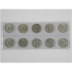 Lot (10) Kennedy 50 Cent 1960s