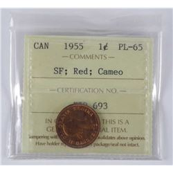 1955 Canada 1 Cent PL65. ICCS. SF;Red;Cameo.