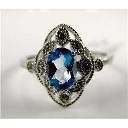 925 S.S Oval Blue Topax Ring (1ct) Filigree Size 7