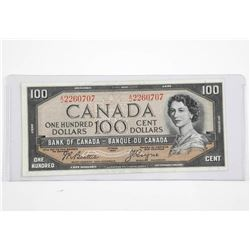 Bank of Canada 1954 $100. Devil's Face - AU, B/C.