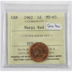 1962 CAD 1 Cent MS-65. HARP:RED Guitar ICCS.