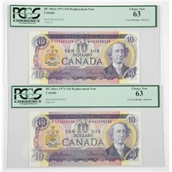 Lot (2) Bank of Canada 1971 Ten Dollar *Replacemen