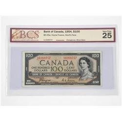 Bank of CANADA 1954 - Devil's Face, 100.00 VF25. B
