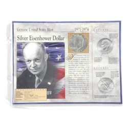 (1971-1974) Silver Eisenhower Dollar with Display