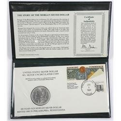 100 Year Old UNC US Silver Dollar 1889 - Folio and