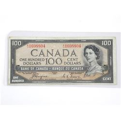 Bank of Canada 1954 One Hundred Dollar Note. C/T D