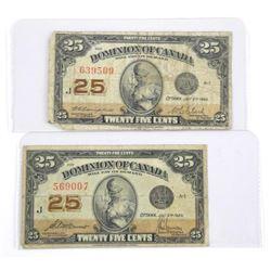 Lot (2) Dominion of CANADA Twenty Five cents. 1923