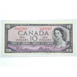 Bank of CANADA 1954 Ten Dollar Note. EF. B/C Devil