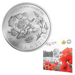 """""""ARMISTICE 1918-2018 .9999 Fine Silver $10.00 Coi"""