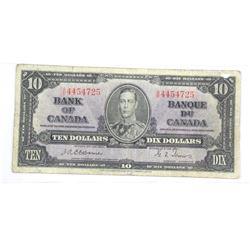 Bank of Canada 1937 Ten Dollar Note. Osbourne-Towe