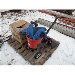 Pallet w/2 Echo weed whips, 2 lawnmower chutes, motor & fertilizer spreader