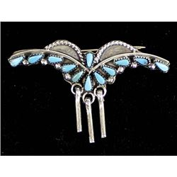 Zuni Sterling & Needlepoint Turquoise Pin
