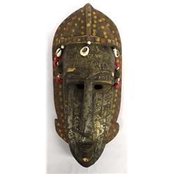 Vintage African Carved Wood and Metal Marka Mask
