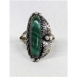 Navajo Sterling Silver Malachite Ring, Size 8