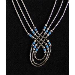 Navajo Sterling Liquid Silver & Bead Necklace