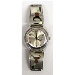 Navajo Sterling Silver Inlay Watch Band