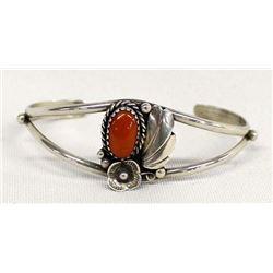 Native American Navajo Sterling Coral Bracelet
