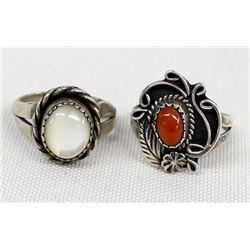 2 Navajo Sterling Silver Mother of Pearl Rings