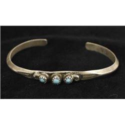 Vintage Native American Silver Turquoise Bracelet