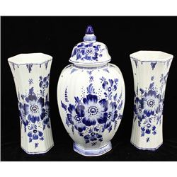 Blue & White Delft Three-Piece Mantle Garniture