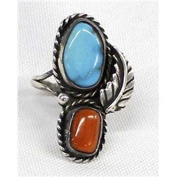 Vintage Navajo Sterling Turquoise Coral Ring, Sz 9