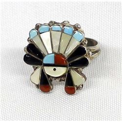 Zuni Sterling Inlay Sun God Ring, Size 10