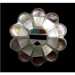 Zuni Sterling Channel Inlay Sun God Ring, Size 6.5