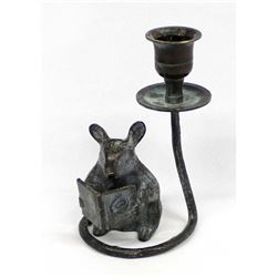 Cast Iron Mouse Reading a Book Candleholder