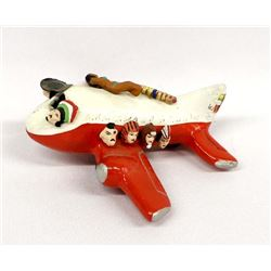 Mexican Hand Painted Folk Art Pottery Airplane