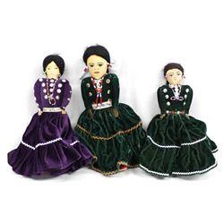 3 Traditional Navajo Cloth Dolls