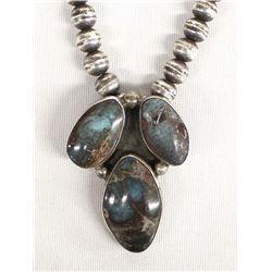 Antique Navajo Sterling Turquoise Pendant Choker
