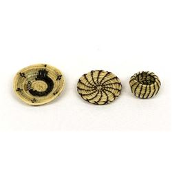 3 Native American Miniature Horse Hair Baskets