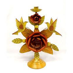 Mexican Tin Bird and Flower Candleholder