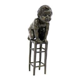 Art Nouveau Bronze Boy on Stool by Juan Clara