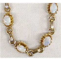 14K Gold and Opal Link Bracelet