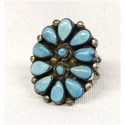 Vintage Navajo Sterling Turquoise Cluster Ring