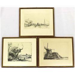 3 Framed Rembrandt Etching Prints