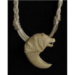 Southwest Carved Bone Wolf Pendant Necklace