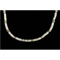 Navajo Sterling Silver and Heishi Bead Necklace