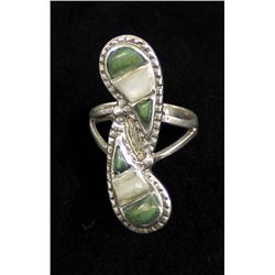 Vintage Navajo Silver Turquoise Ring, Size 7